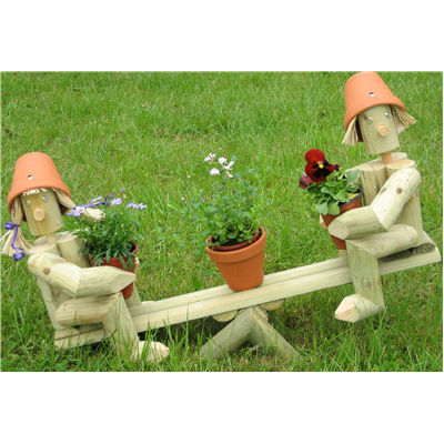 Wooden garden flowerpot men on a seesaw for Gardening gifts for men
