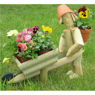 Wooden garden flowerpot man gardener with wheelbarrow the perfect garden gift or ornament - Wooden garden ornaments ...