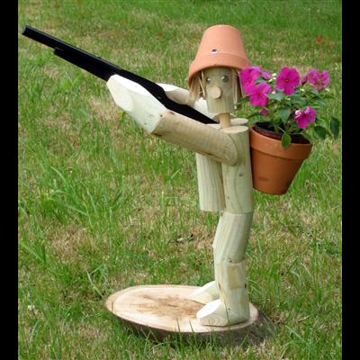 Wooden garden flowerpot men hunter and rifle - Wooden garden ornaments ...