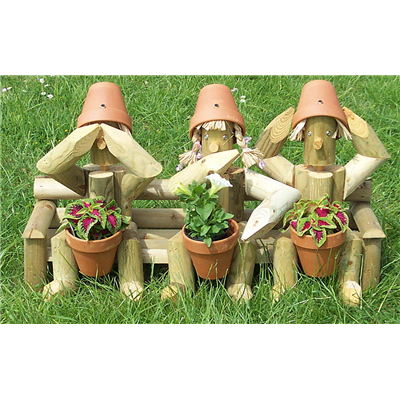 Wooden garden flowerpot men three wiseguys a great for Gardening gifts for men
