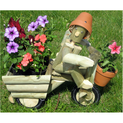 Wooden garden flowerpot men one on tricycle with planter for Gardening gifts for men