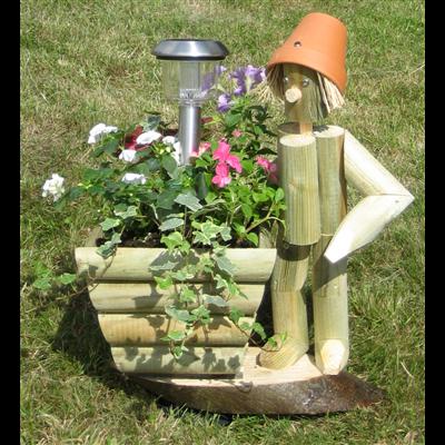 Wooden garden flowerpot men standing flowerpot man with solar light and wooden planter - Wooden garden ornaments ...