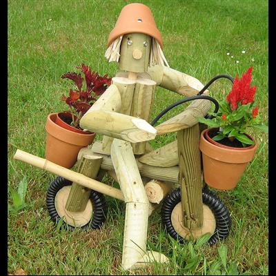 Wooden garden flowerpot man motorbike and rider a great garden ornament - Wooden garden ornaments ...